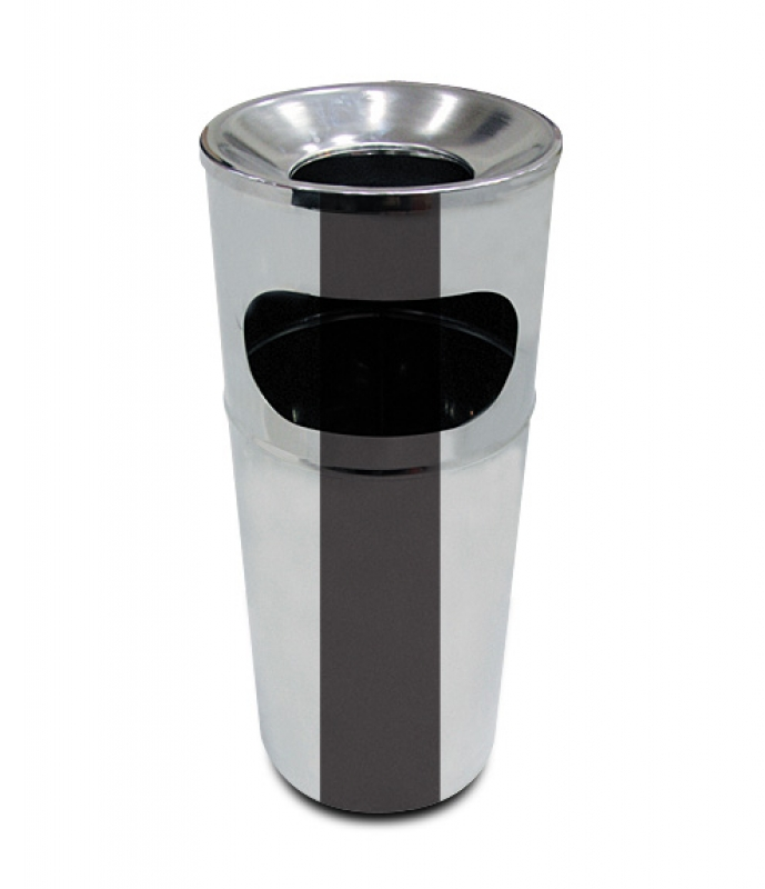 NEO-120K Stainless Mall Trash Can with Ashtray